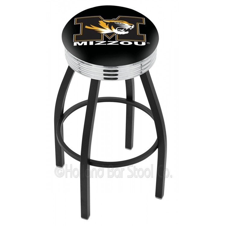 """Missouri Tigers 25"""" Black Wrinkle Swivel Bar Stool with Chrome 2.5"""" Ribbed Accent Ring"""
