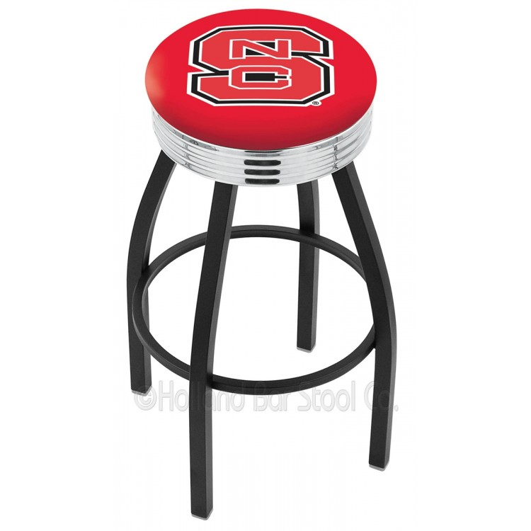 """NC State Wolfpack 25"""" Black Wrinkle Swivel Bar Stool with Chrome 2.5"""" Ribbed Accent Ring"""