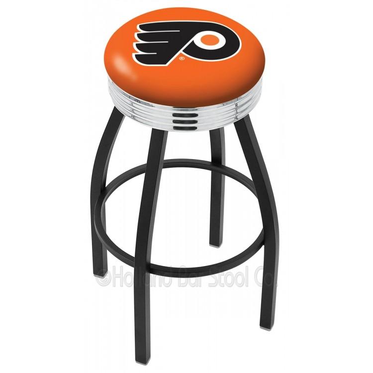 "Philadelphia Flyers 25"" Black Wrinkle Swivel Bar Stool with Chrome 2.5"" Ribbed Accent Ring"