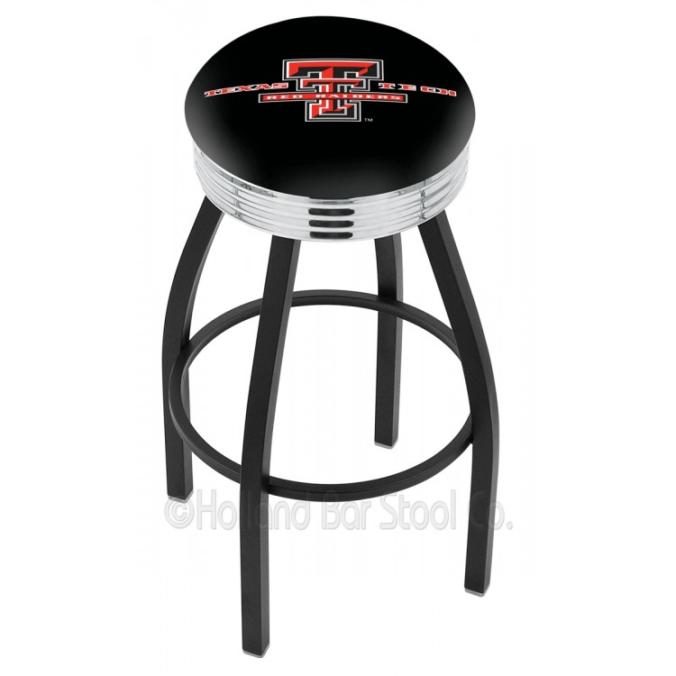 """Texas Tech Red Raiders 25"""" Black Wrinkle Swivel Bar Stool with Chrome 2.5"""" Ribbed Accent Ring"""