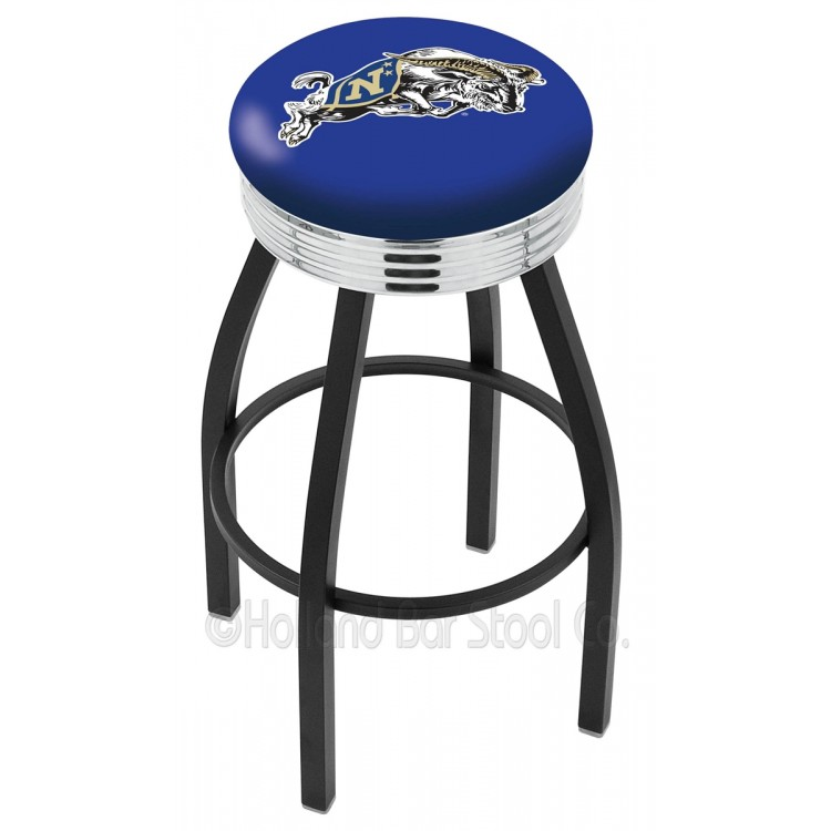 "Navy Midshipmen 25"" Black Wrinkle Swivel Bar Stool with Chrome 2.5"" Ribbed Accent Ring"