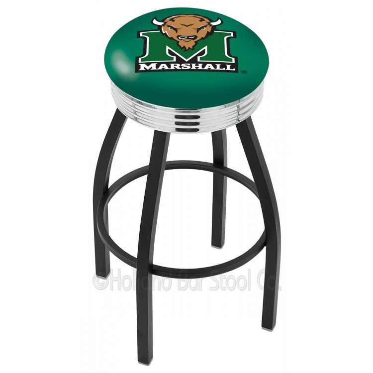 """Marshall Herd 30"""" Black Wrinkle Swivel Bar Stool with Chrome 2.5"""" Ribbed Accent Ring"""
