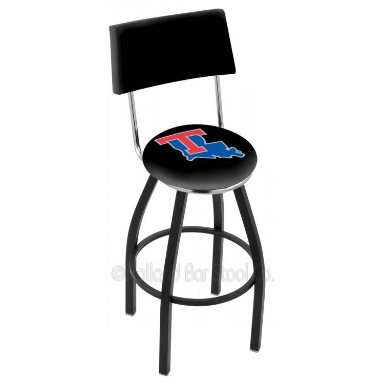 "Louisiana Tech Bulldogs 25"" Black Wrinkle Swivel Bar Stool with a Back"