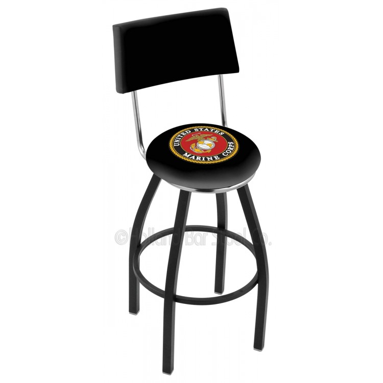 "U.S. Marines 25"" Black Wrinkle Swivel Bar Stool with a Back"