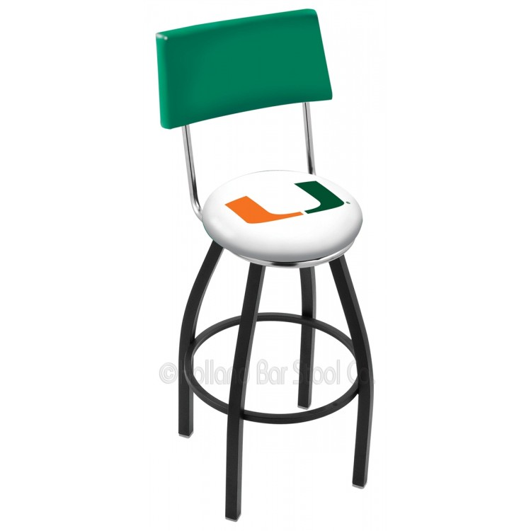"Miami Hurricanes 25"" Black Wrinkle Swivel Bar Stool with a Back"