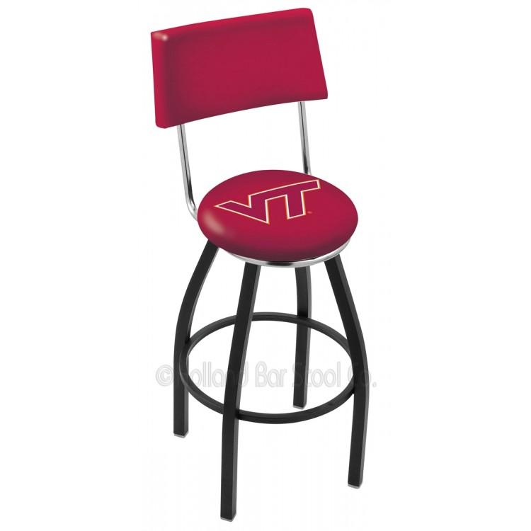 "Virginia Tech Hokies 25"" Black Wrinkle Swivel Bar Stool with a Back"