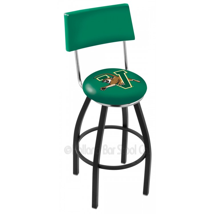 """Vermont Catamounts 30"""" Black Wrinkle Swivel Bar Stool with a Back"""