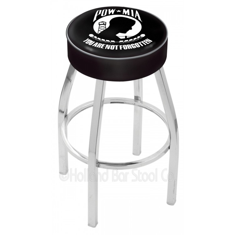 "POW/MIA 25"" 4"" Cushion Seat with Chrome Base Swivel Bar Stool"