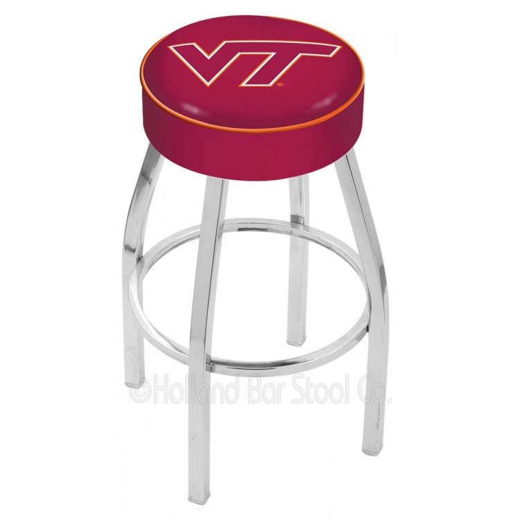"Virginia Tech Hokies 25"" 4"" Cushion Seat with Chrome Base Swivel Bar Stool"