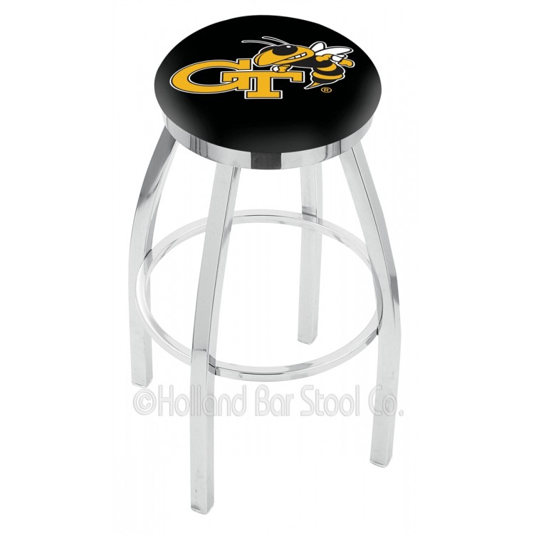 """Georgia Tech Yellow Jackets 25"""" Chrome Swivel Bar Stool with Accent Ring"""