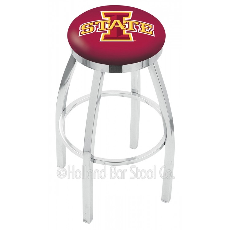 """Iowa State Cyclones 25"""" Chrome Swivel Bar Stool with Accent Ring"""