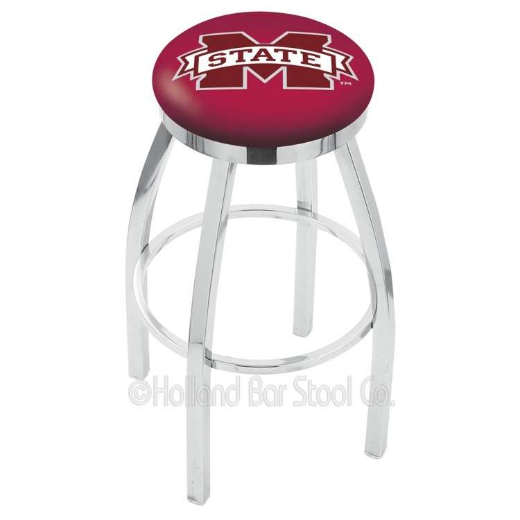 "Mississippi State Bulldogs 25"" Chrome Swivel Bar Stool with Accent Ring"