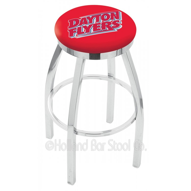 "Dayton Flyers 30"" Chrome Swivel Bar Stool with Accent Ring"