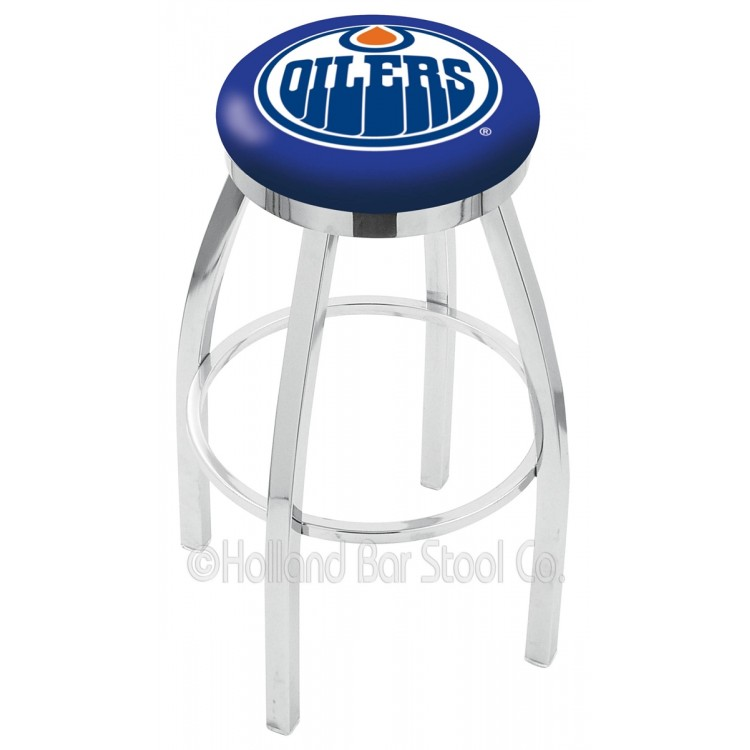 """Edmonton Oilers 30"""" Chrome Swivel Bar Stool with Accent Ring"""