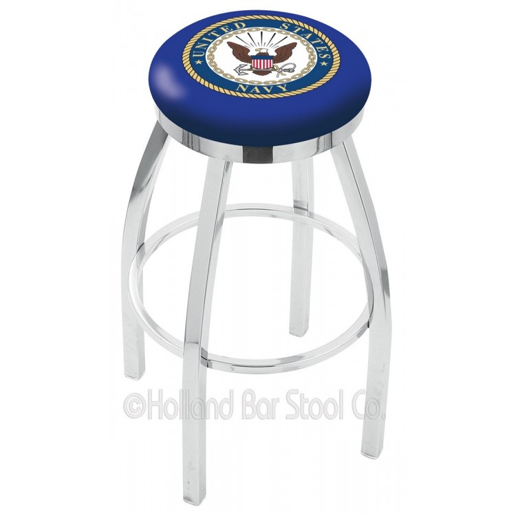 "U.S. Navy 30"" Chrome Swivel Bar Stool with Accent Ring"