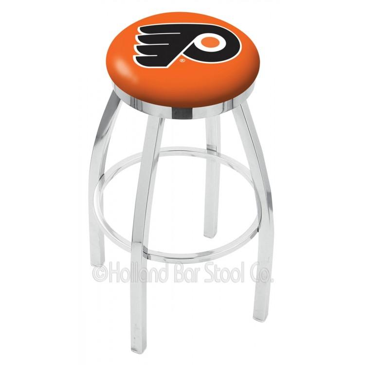"Philadelphia Flyers 30"" Chrome Swivel Bar Stool with Accent Ring"