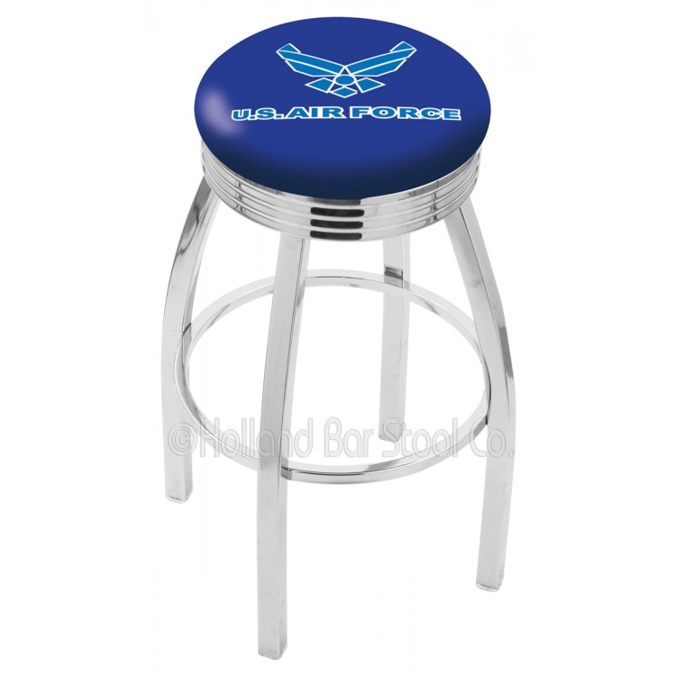 "U.S. Air Force 25"" Chrome Swivel Bar Stool with 2.5"" Ribbed Accent Ring"