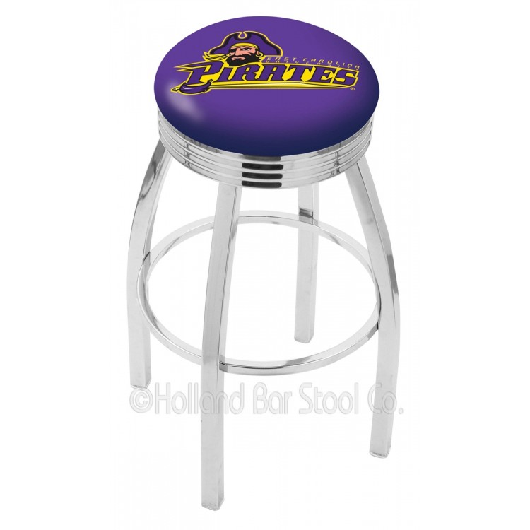 """East Carolina Pirates 25"""" Chrome Swivel Bar Stool with 2.5"""" Ribbed Accent Ring"""