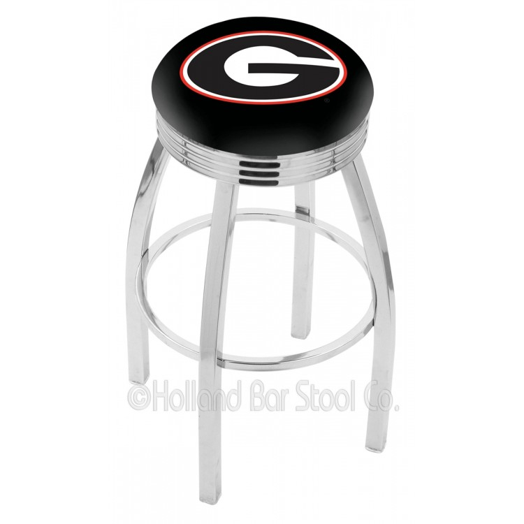 """Georgia Bulldogs 25"""" Chrome Swivel Bar Stool with 2.5"""" Ribbed Accent Ring"""