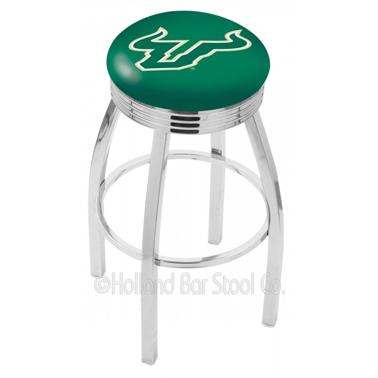 """South Florida Bulls 25"""" Chrome Swivel Bar Stool with 2.5"""" Ribbed Accent Ring"""
