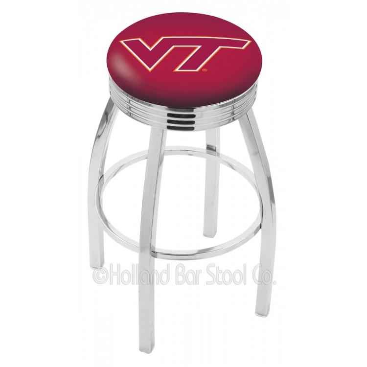 "Virginia Tech Hokies 25"" Chrome Swivel Bar Stool with 2.5"" Ribbed Accent Ring"