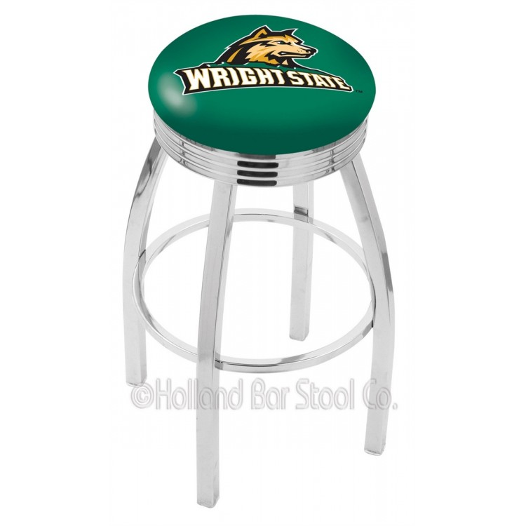"Wright State Raiders 25"" Chrome Swivel Bar Stool with 2.5"" Ribbed Accent Ring"