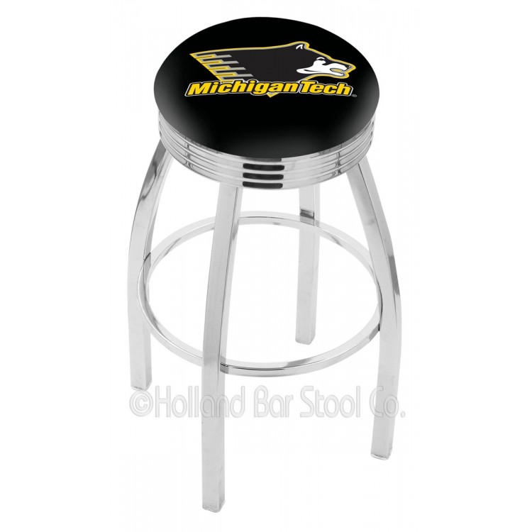 """Michigan Tech Huskies 30"""" Chrome Swivel Bar Stool with 2.5"""" Ribbed Accent Ring"""