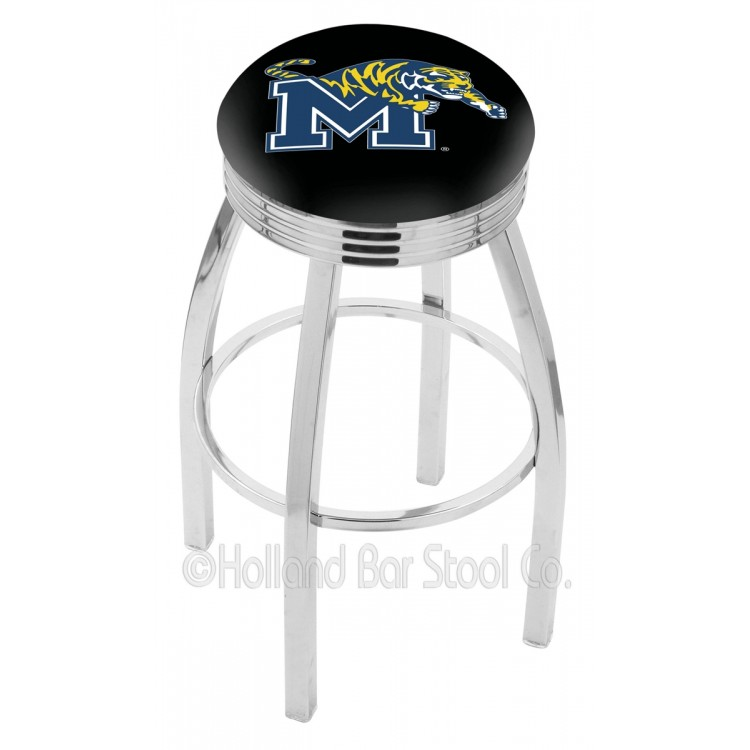 """Memphis Tigers 30"""" Chrome Swivel Bar Stool with 2.5"""" Ribbed Accent Ring"""