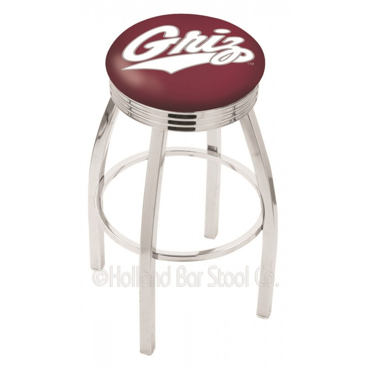 "Montana Grizzlies 30"" Chrome Swivel Bar Stool with 2.5"" Ribbed Accent Ring"