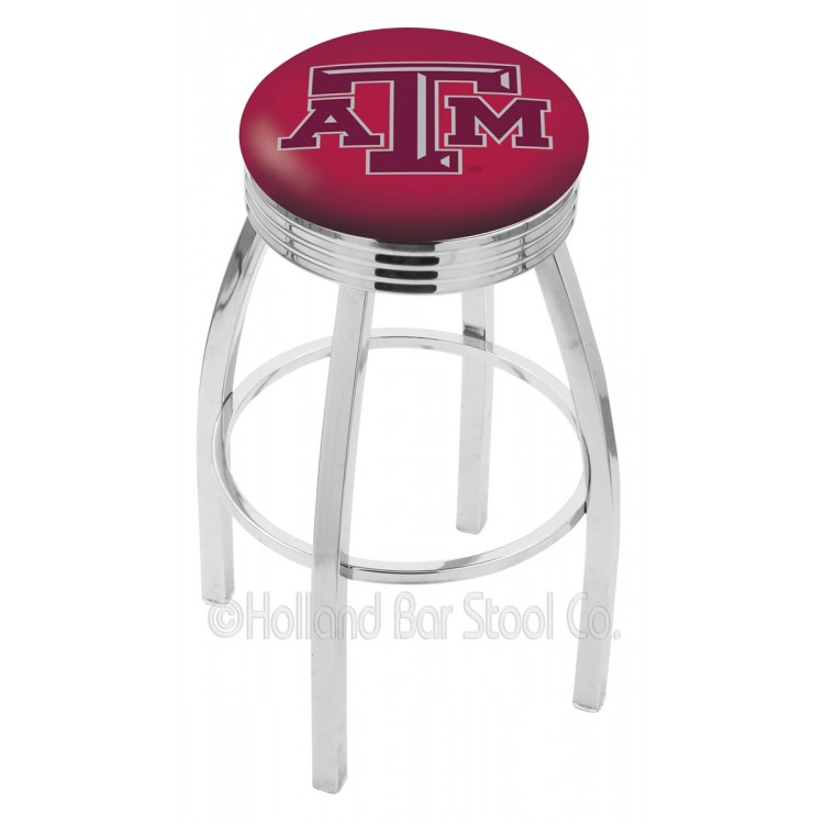 """Texas A&M Aggies 30"""" Chrome Swivel Bar Stool with 2.5"""" Ribbed Accent Ring"""