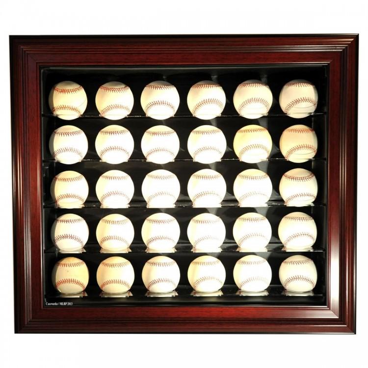 Cabinet Style 30 Baseball Display, Mahogany