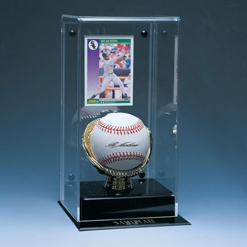 Baseball Card /& Baseball Display Walnut Base