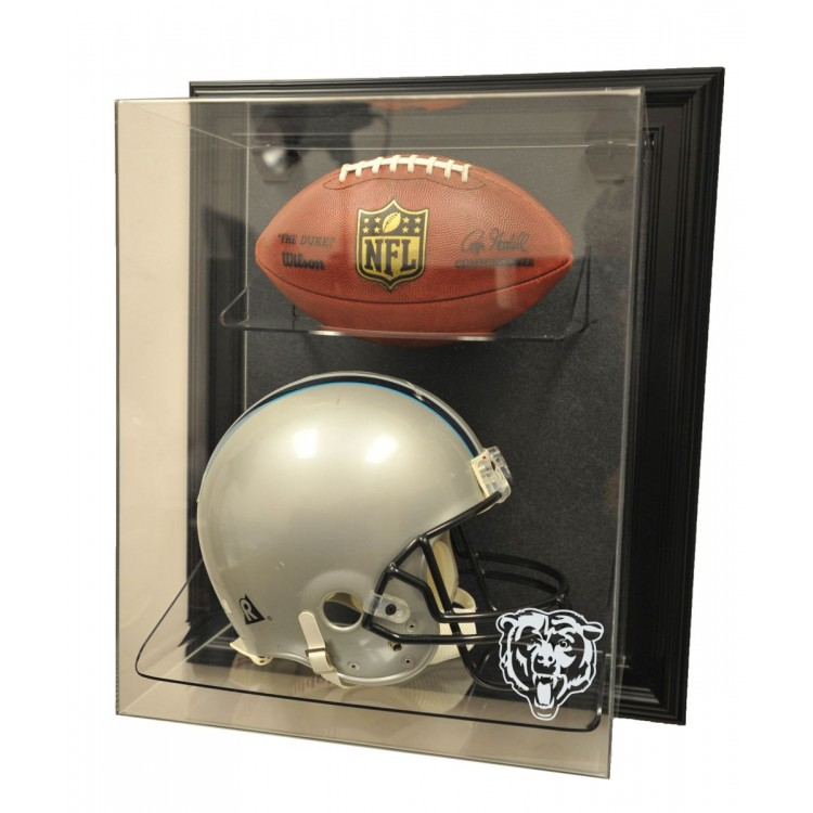"""Chicago Bears Helmet and Football """"Case-Up"""" Display, Black"""