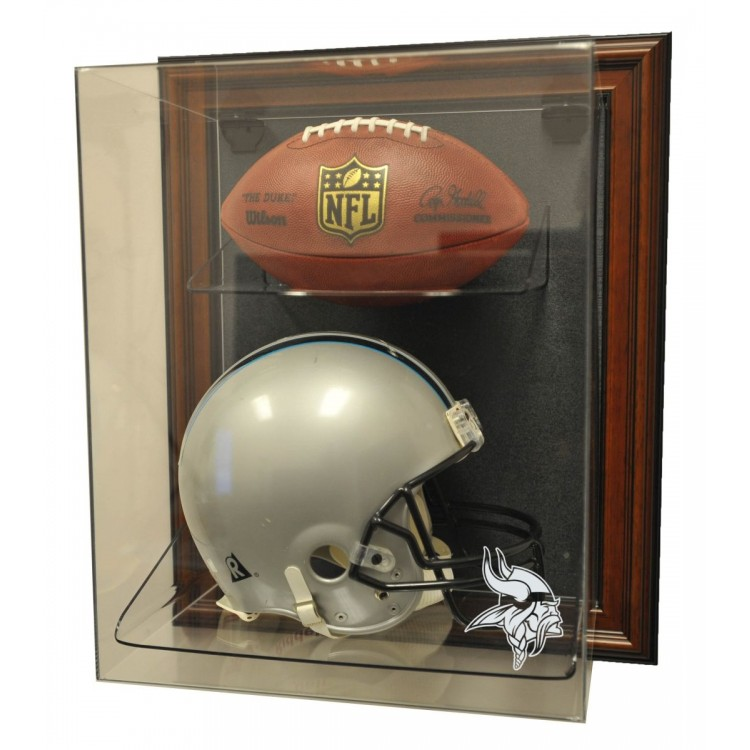 "Minnesota Vikings Helmet and Football ""Case-Up"" Display, Brown"