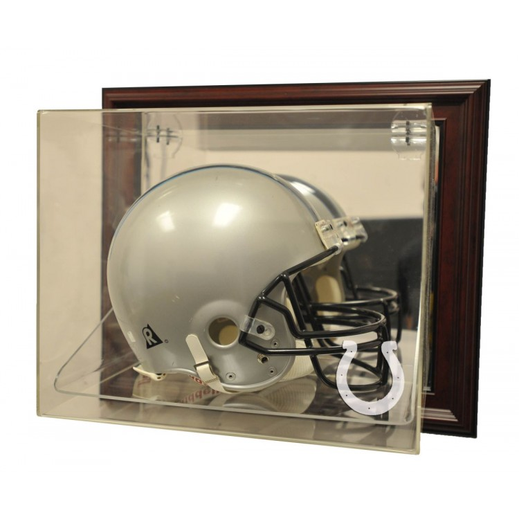 "Indianapolis Colts Helmet ""Case-Up"" Display, Mahogany"