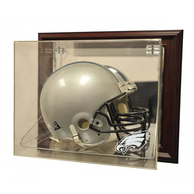 "Philadelphia Eagles Helmet ""Case-Up"" Display, Mahogany"