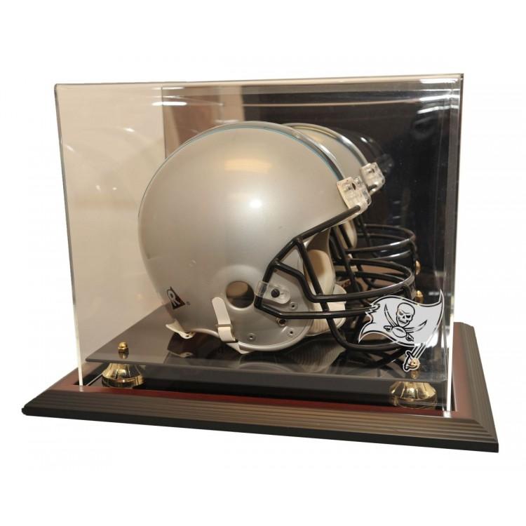 Tampa Bay Buccaneers Zenith Helmet Display, Mahogany