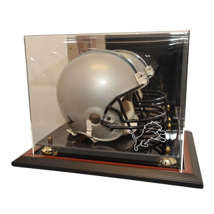 Detroit Lions Zenith Helmet Display, Brown