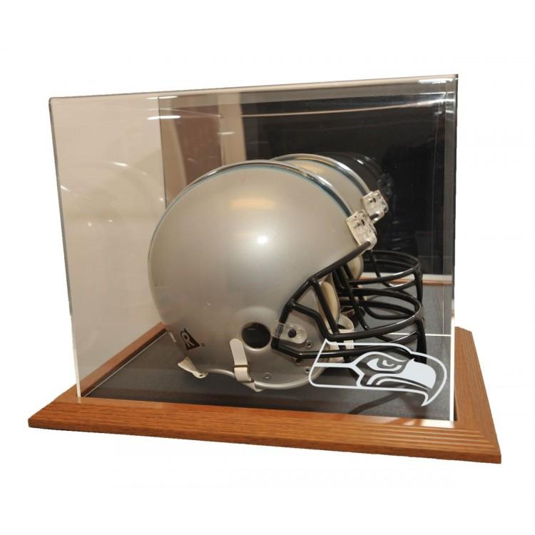 Seattle Seahawks Natural Color Framed Base Helmet Display