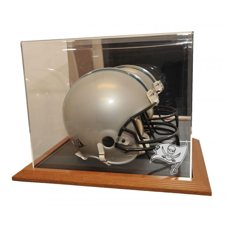 Tampa Bay Buccaneers Natural Color Framed Base Helmet Display