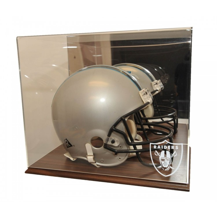 Oakland Raiders Walnut Finished Base Helmet Display