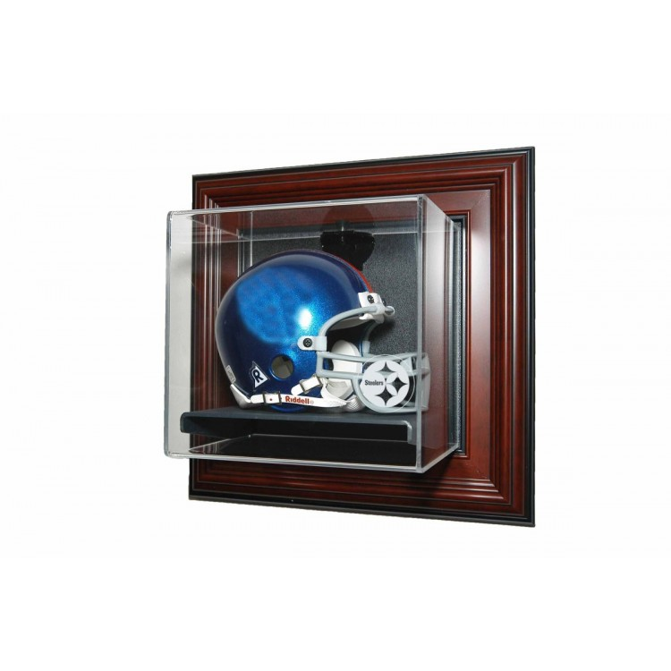 Pittsburgh Steelers Mini helmet âœCase-Up❠Display, Mahogany