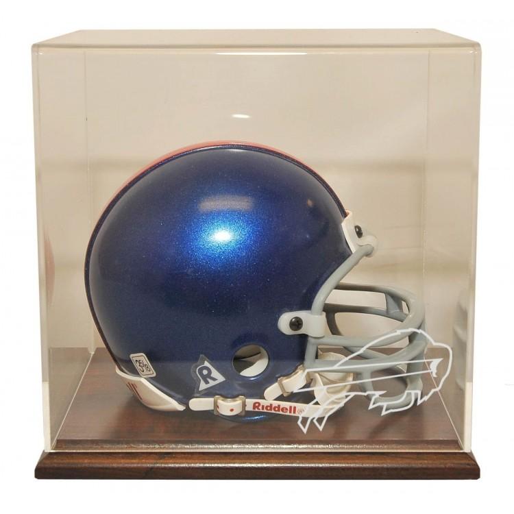 Buffalo Bills Walnut Finished Base Mini Helmet Display