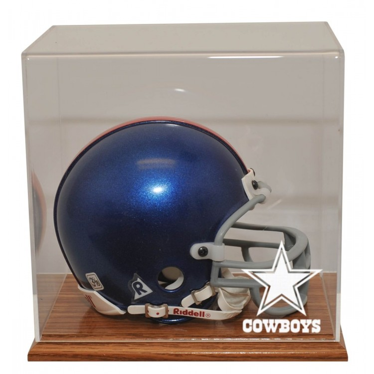 Dallas Cowboys Oak Finished Base Mini Helmet Display