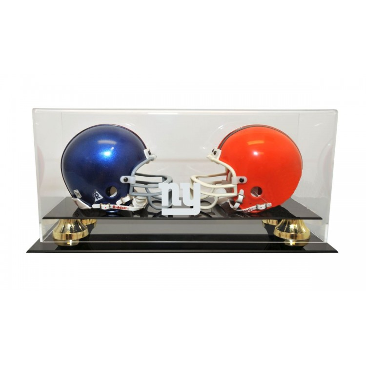 New York Giants Double Mini Helmet with Gold Risers Display