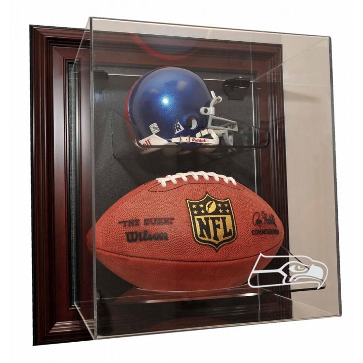 Seattle Seahawks Mini Helmet and Football âœCase-Up❠Display, Mahogany