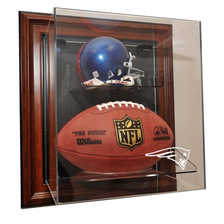 New England Patriots Mini Helmet and Football âœCase-Up❠Display, Brown