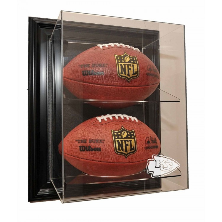 "Kansas City Chiefs 2 Football ""Case-Up"" Display, Black"