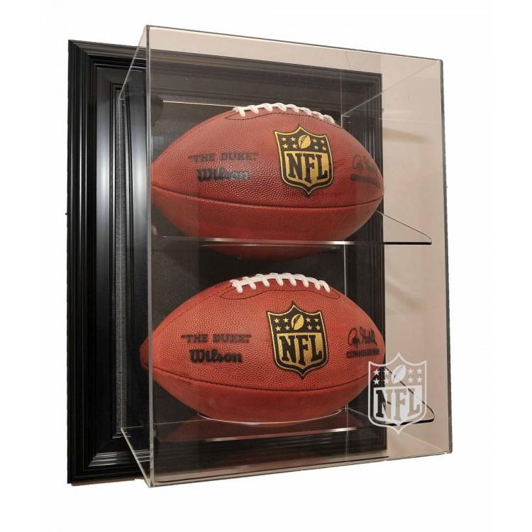 "NFL Logo Gear 2 Football ""Case-Up"" Display, Black"