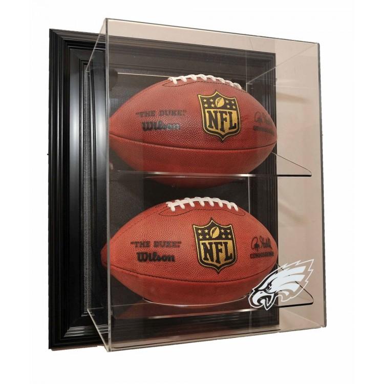 """Philadelphia Eagles 2 Football """"Case-Up"""" Display, Black"""